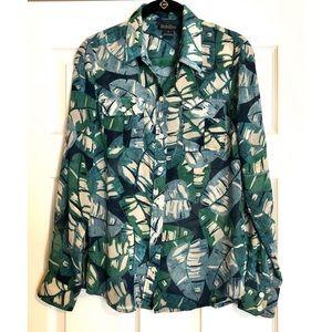Lucky Brand 🍀 Sheer ButtonDown 🍃 Printed Shirt